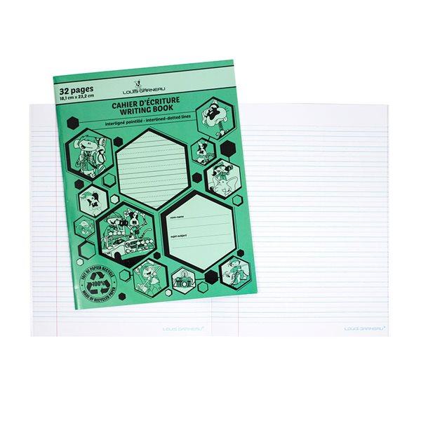 Cahier d'écriture pointillé et interligné Louis Garneau® vert