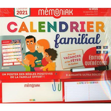 Calendrier familial 2021 Québec (16 mois)