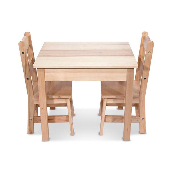 TABLE ET 2 CHAISES EN BOIS NATUREL